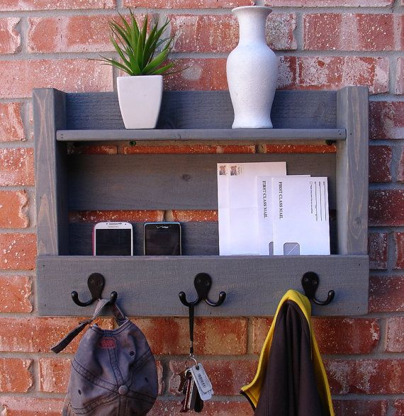 Rustic Entryway 3 Hanger Hook Coat Rack with Shelf and by KeoDecor -- I'd like something like this in our new hallway