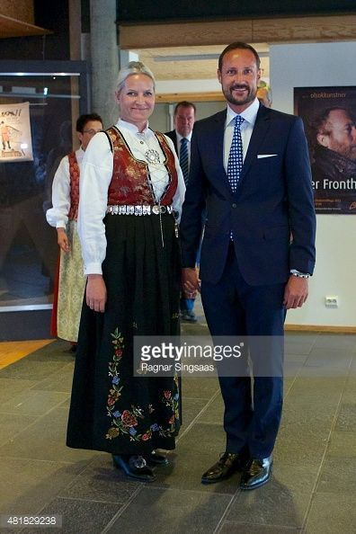 Crown Princess Mette-Marit of Norway and Crown Prince Haakon of Norway attend The Saint Olav Festival on July 24, 2015 in Stiklestad, Norway.