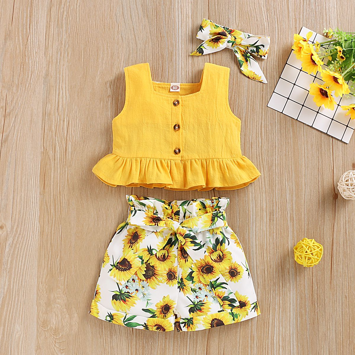 2020 Toddler Kids Baby Girl Tops+Floral Long Pants+Headband Outfits Clothes