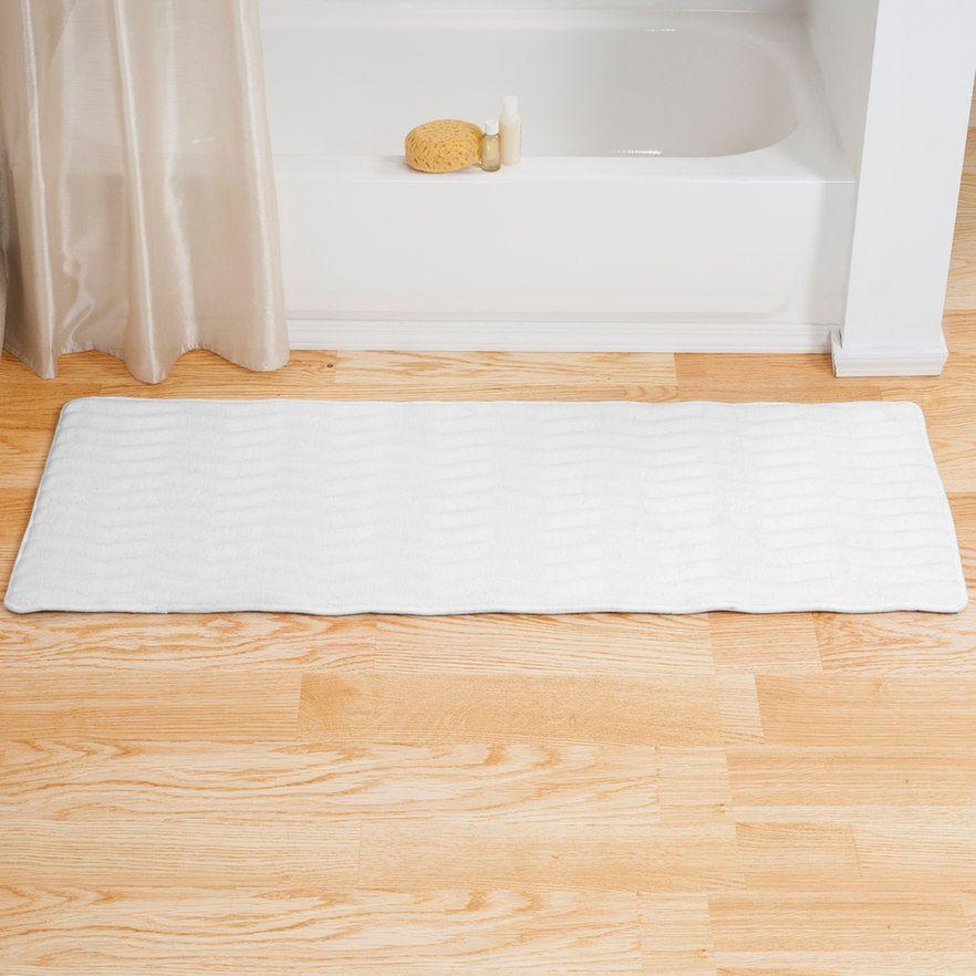 Portsmouth Home Memory Foam Long Bath Rug Mat White Long Bath