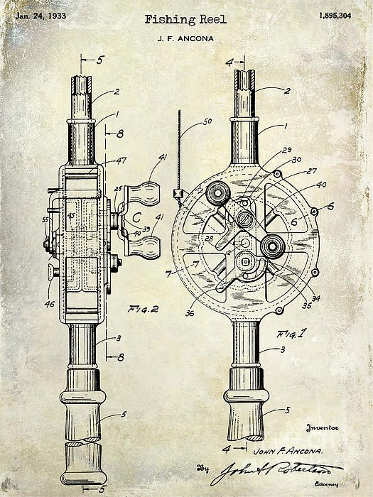 Fishing patent drawings 1933 fishing reel patent drawing print by fishing patent drawings 1933 fishing reel patent drawing print by jon neidert malvernweather