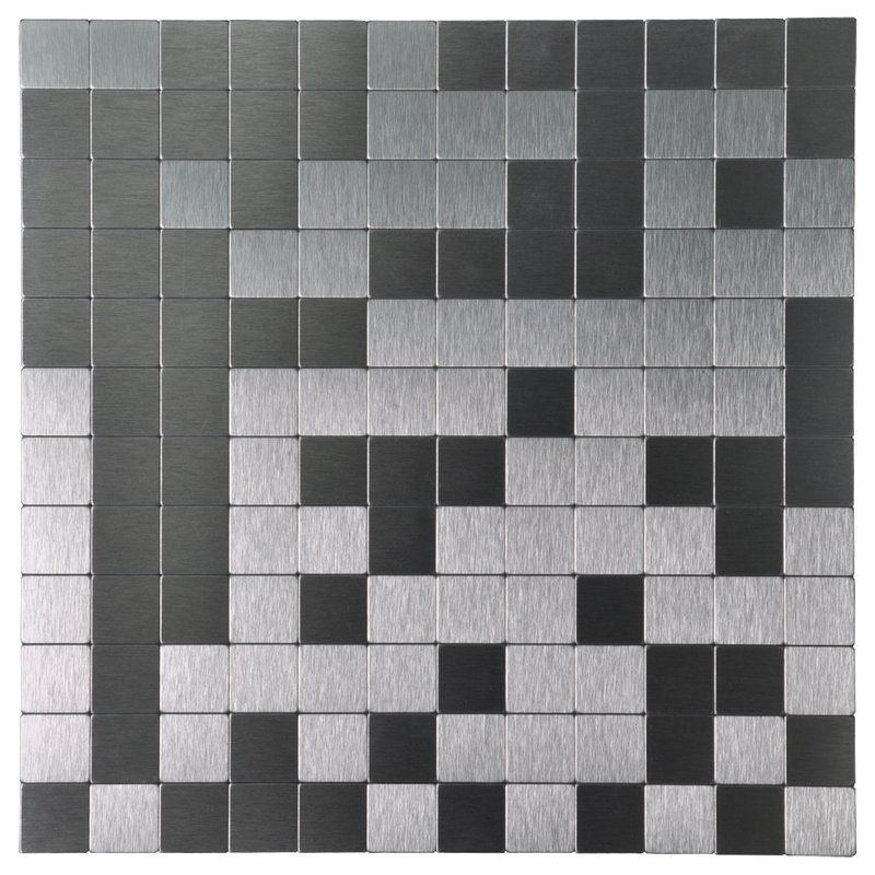 12 X 12 Metal Peel Stick Mosaic Tile Aluminum Backsplash Metal Tile Backsplash Metallic Backsplash