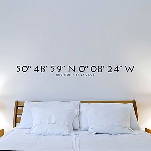 Personalised Coordinates Vinyl Wall Stickerwhere We Got - How do i put up a wall sticker