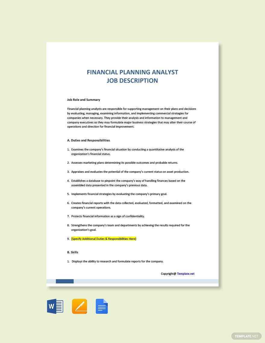 Financial planning analyst job ad and description template