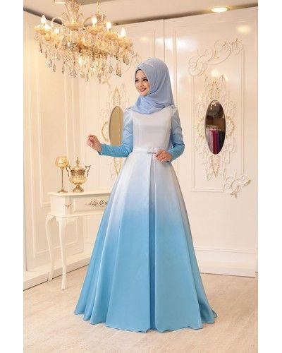 Ebruli Abiye Mavi Islami Giyim Elbiseler Elbise Modelleri