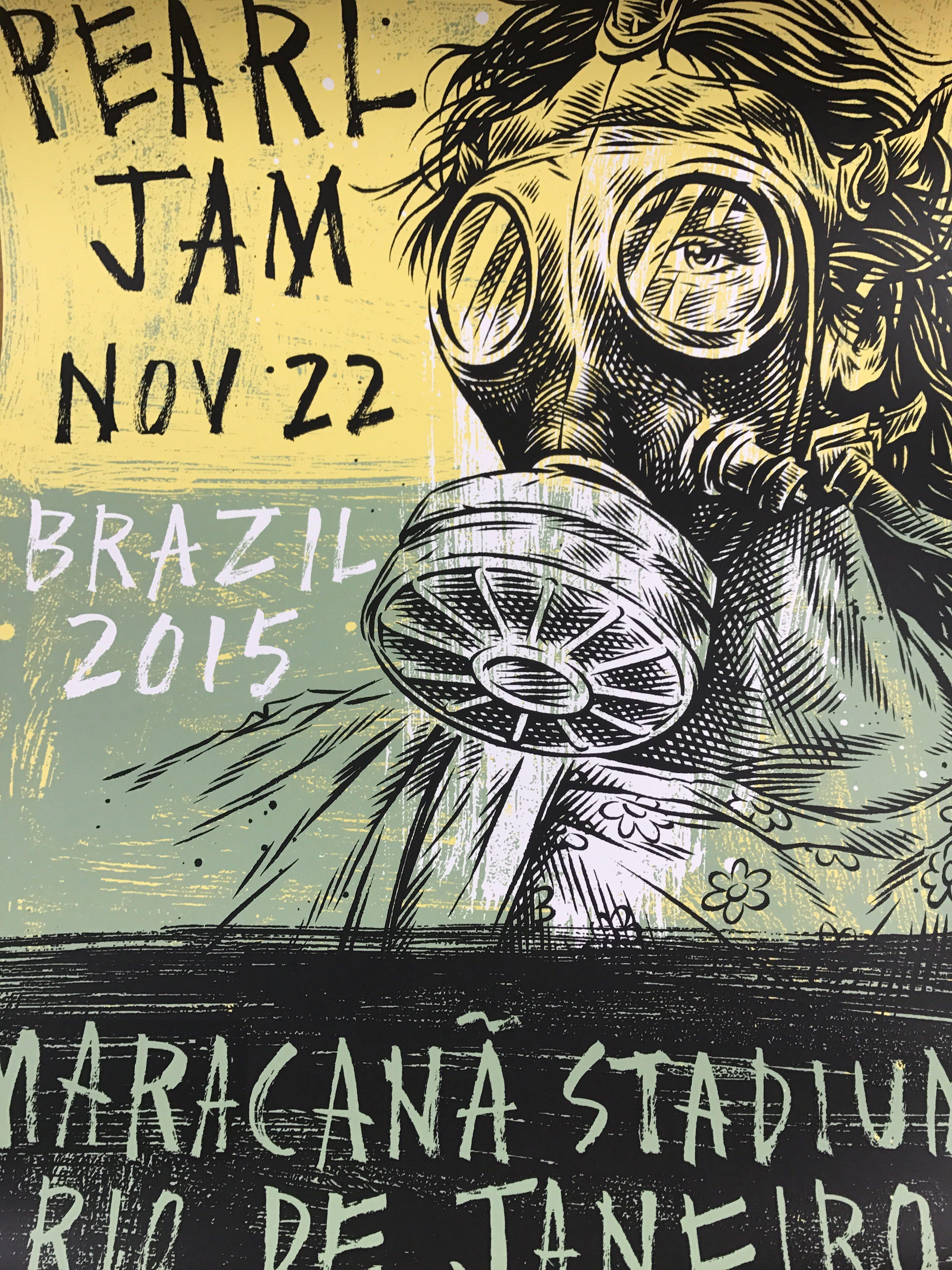 Pearl Jam 2015 Ben Horton Poster Rio De Janeiro Brazil
