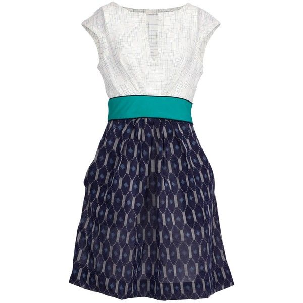 Osa   Sleeveless V-Neck Dress with Pleated Pocket Skirt   CrOp by... (23.200 RUB) ❤ liked on Polyvore featuring dresses, blue dress, v-neck dresses, pleated dress, sleeveless pleated dress and pocket dress