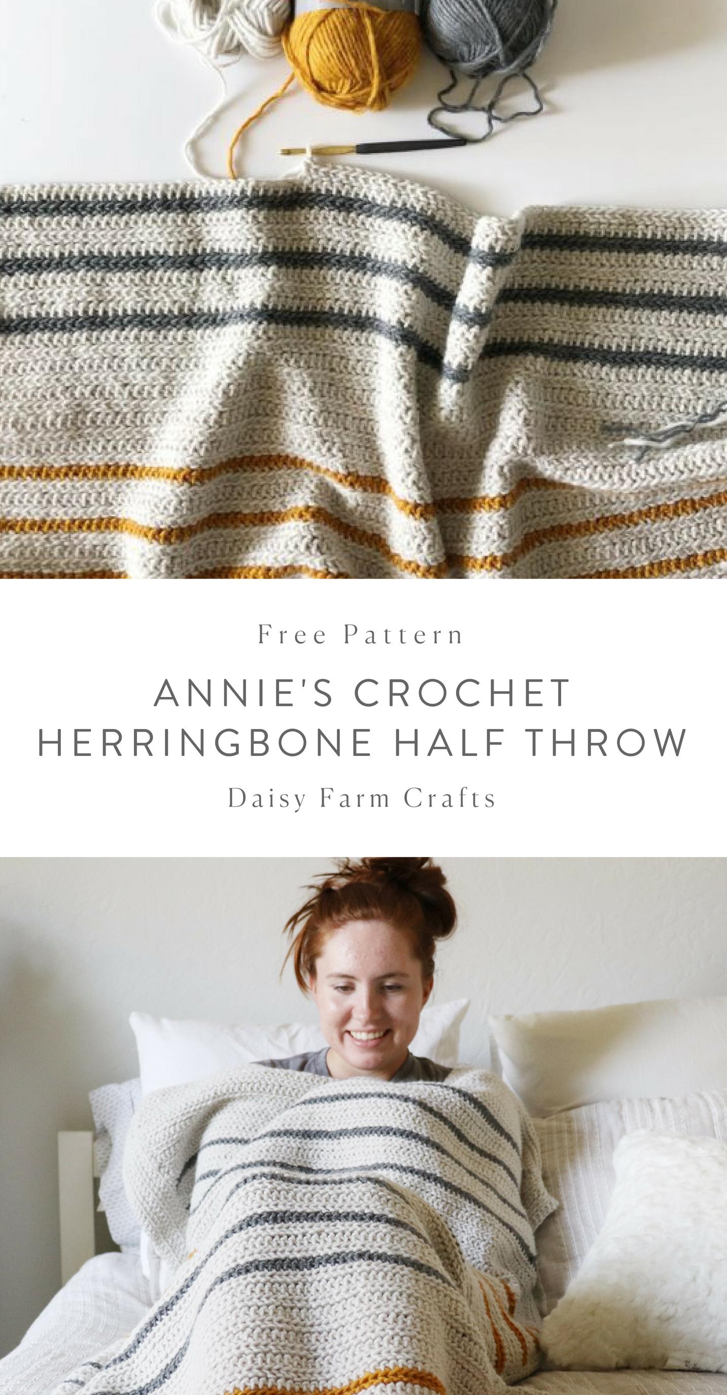 Free Pattern - Annie\'s Crochet Herringbone Half Throw #crochet ...
