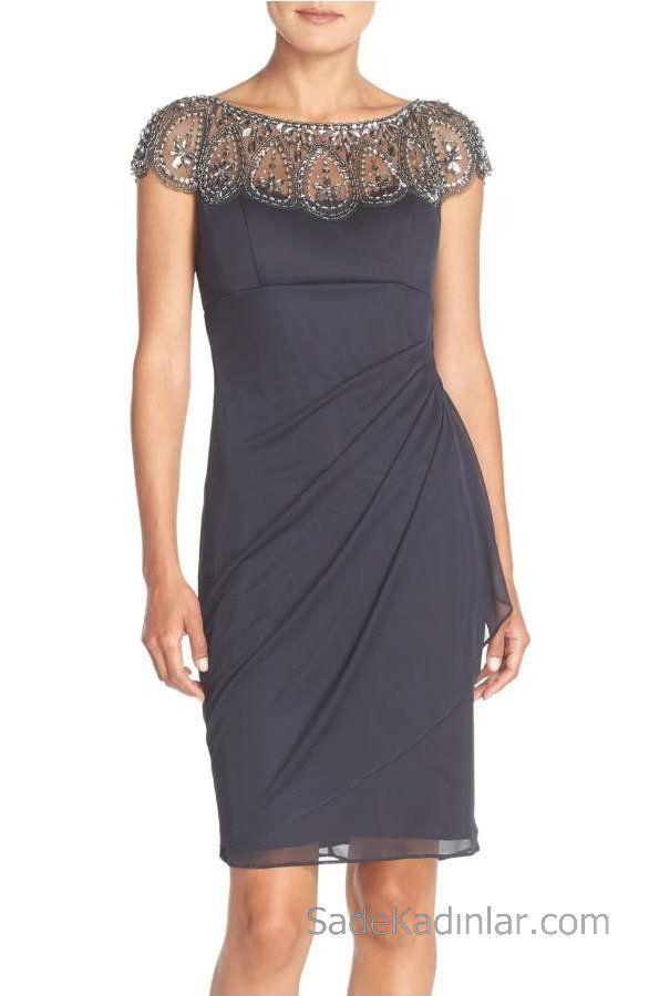 2018 Chiffon Kleid Modelle grau kurzen Boot Ausschnitt Perlen detailliert   – Elbise Modelleri