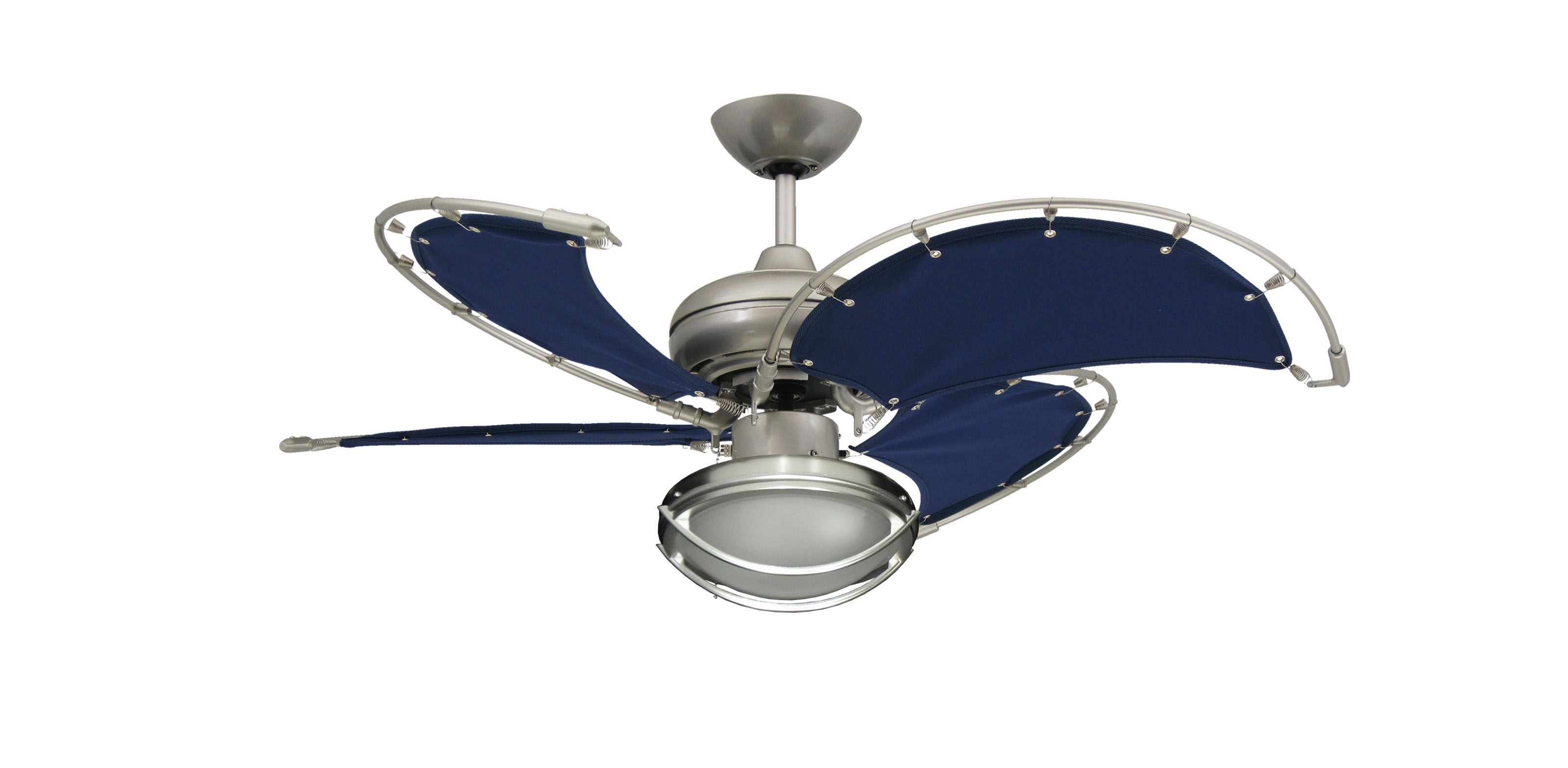 Visit The Home Depot To Troposair Voyage 40 In Indoor Outdoor Satin Steel Ceiling Fan With Blue Fabric Blades 88702