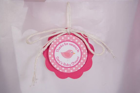 Birdie Themed FAVOR TAGS, Bird Baby ShowerDecorations, Thank You Tags, Gift Tags, Hang Tags in Hot & Light Pink