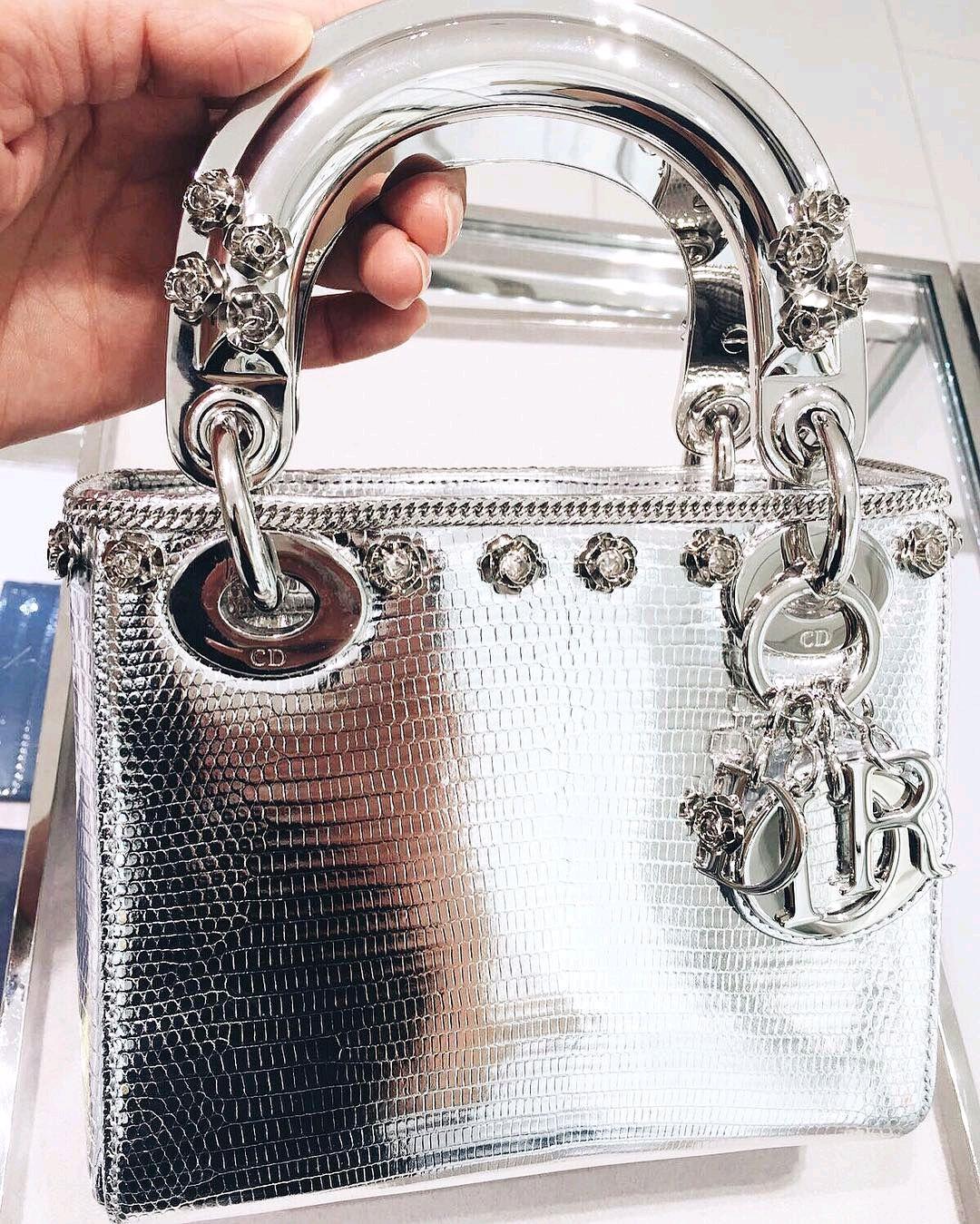 c77cb2ea7 Christian Dior Lady Dior mini bag silver metallic | accessories in ...