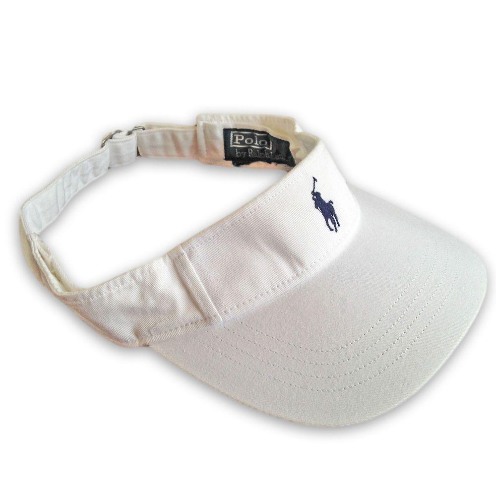 727bbdfaf67 Polo Ralph Lauren Visor Cap Hat White + Navy Pony. Tennis   Golf. Special  Price