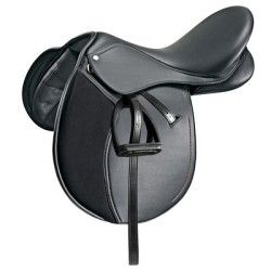 Selle Polyvalente Synthetique Equipee Equitation Cheval Synthia Noir