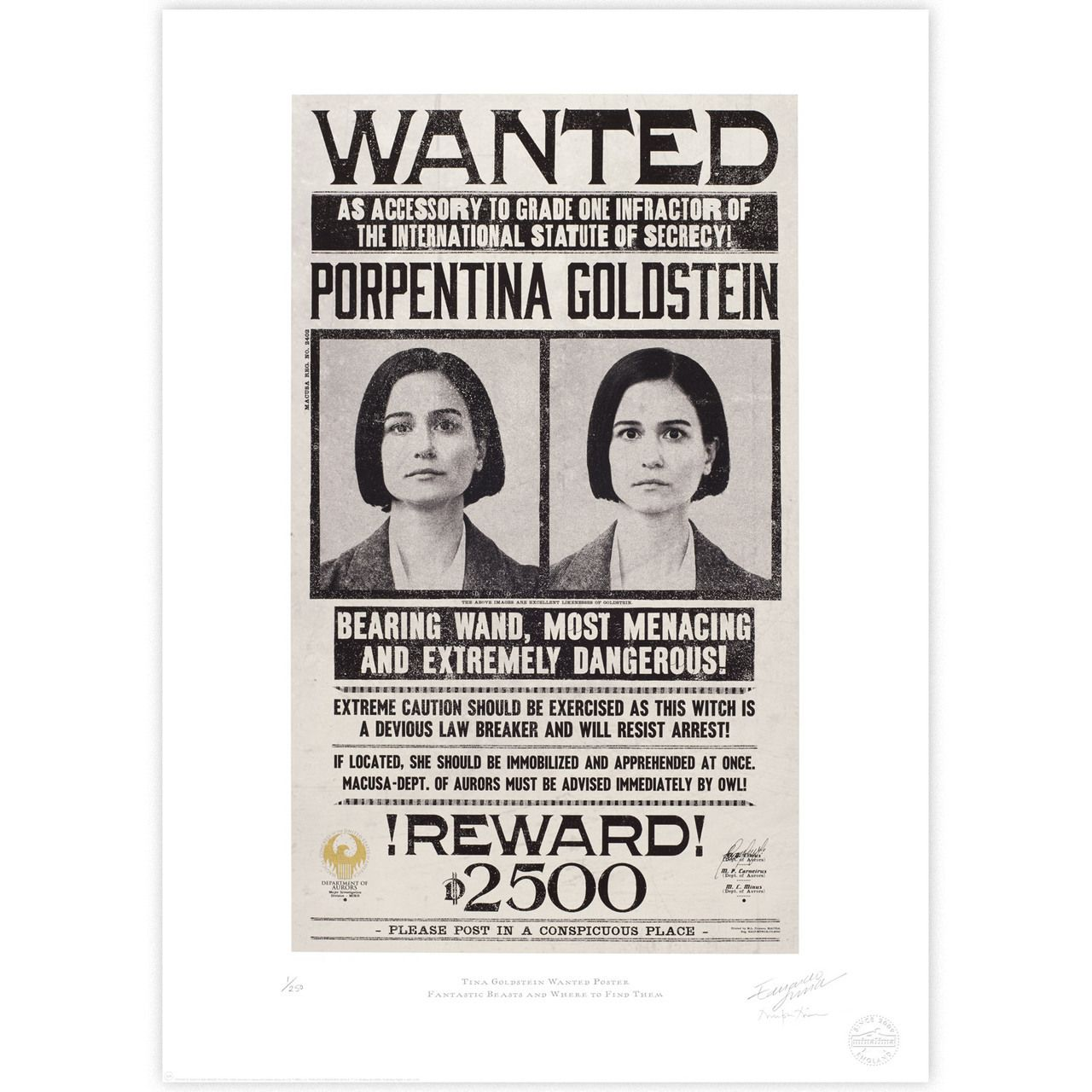 """Fantastic Beasts /& Where to Find Them Wanted Poster Print B2G1F 11/"""" x 17/"""""""