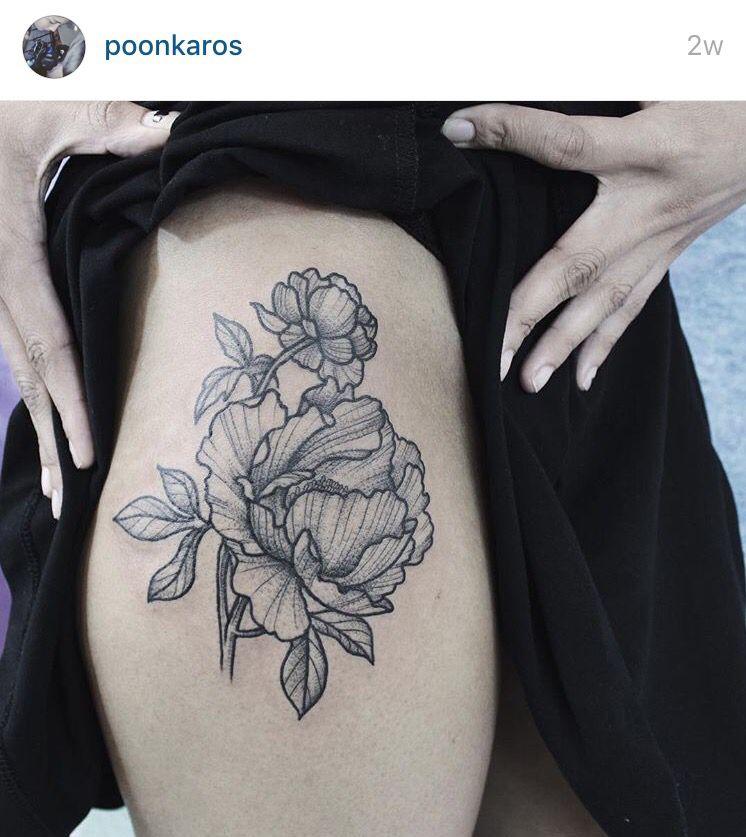 Fine line flower by poonkaros on instagram peonies