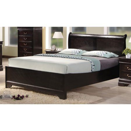 Best Quality Furniture Cappuccino color Panel Bed Multiple sizes B81 - Cheap Black Furniture