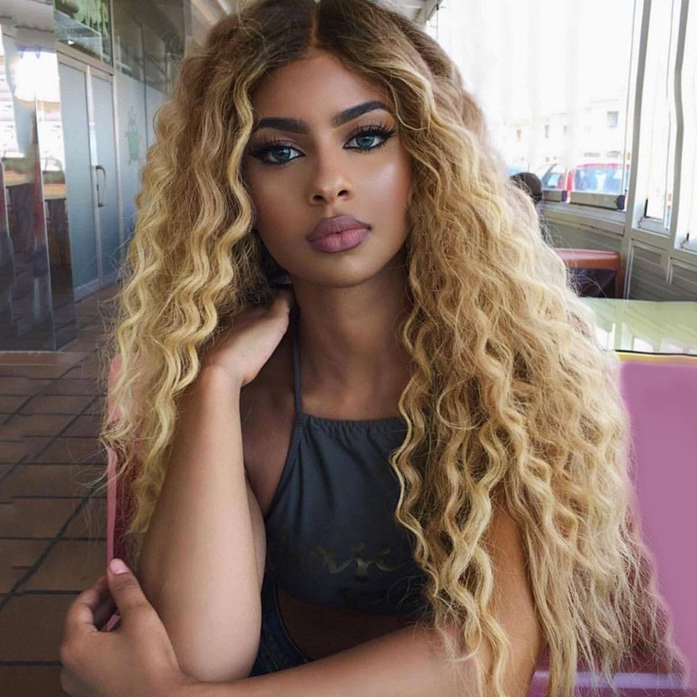 Black Gold Long Curly Hair Synthetic Wig Wig Hairstyles Curly Lace Front Wigs Blonde Ombre