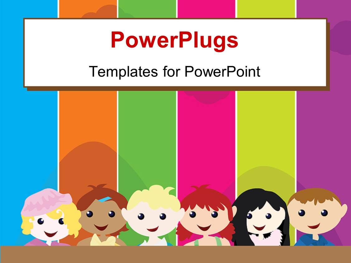 Elegant Ppt Theme Enhanced With A Cartoon Theme Of Six Kids Standing