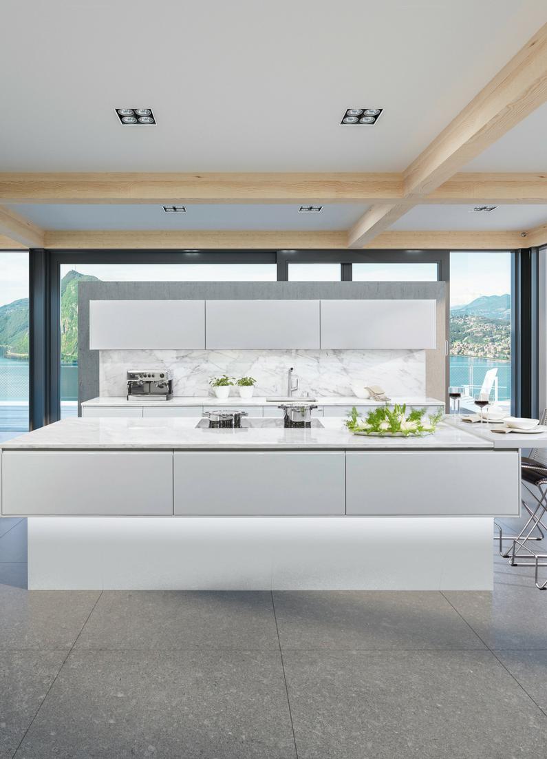 Weiß, Hochglanz, Modern, Küche, Kücheninsel, Kochinsel, Wohnküche, Weiße  Küche
