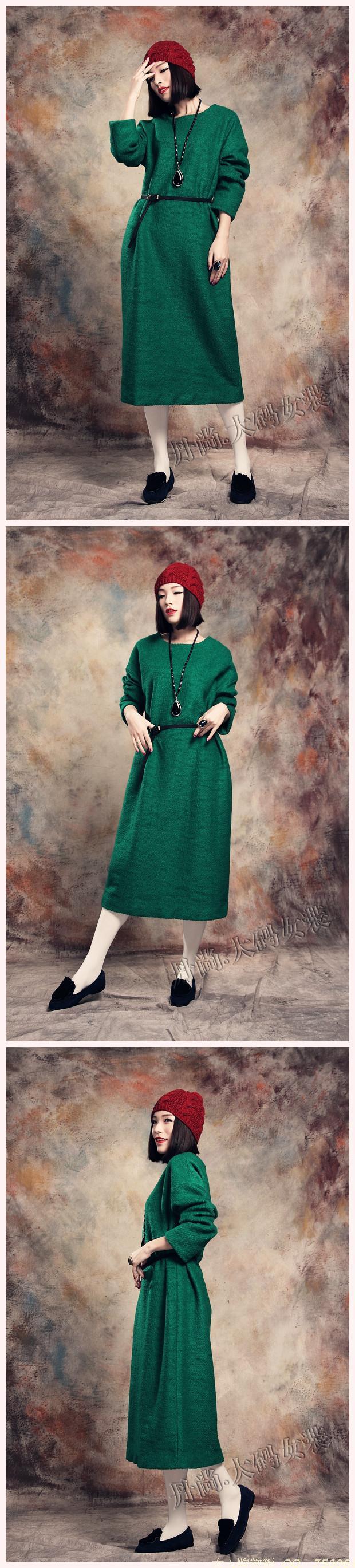 冬款复古文艺羊毛呢子蝙蝠袖宽松大码胖MM加长款连衣裙袍子裙绿色-淘宝网