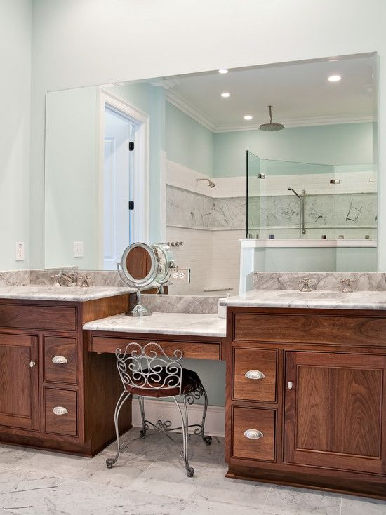Master bathroom makeup vanity use idea only with one sink and a bigger vanity we also only Used bathroom vanity with sink