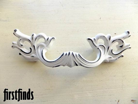 5 medium fancy french provincial handles shabby chic white furniture hardware drawer door painted cottage kitchen