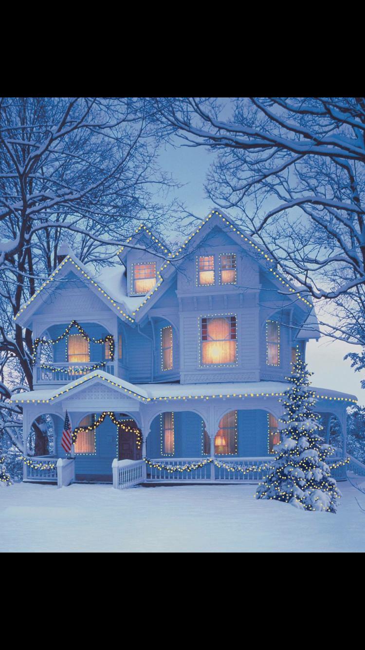 Superbe maison sous la neige maison bleue ma maison de rêve dessins hiver paysage hiver noël victorien