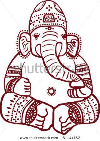 Traditional Indian henna design of the Hindu elephant god Ganesha ...