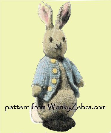 A Vintage Knitted Toy Bunny In A Peter Rabbit Blue Coati Modified