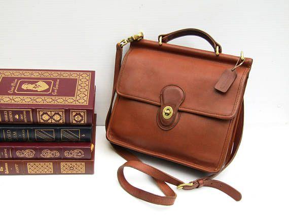 616b95d0dd Vintage Coach Bag • Coach Messenger Bag in British Tan Leather ...