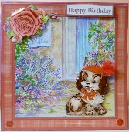 Puppy by the Door Card Topper   Decoupage on Craftsuprint - View Now!