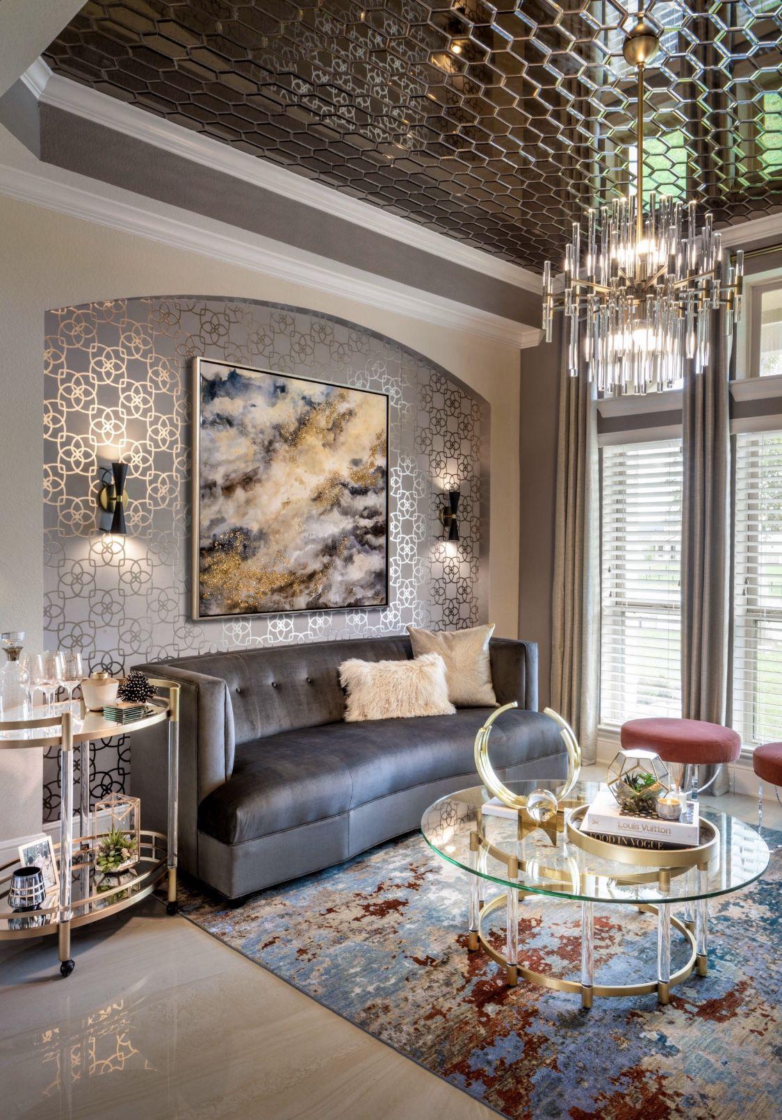 Art Deco Living Room Design Ideas: Art Deco Decor, Curved Sofa, #homedecor #livingroom