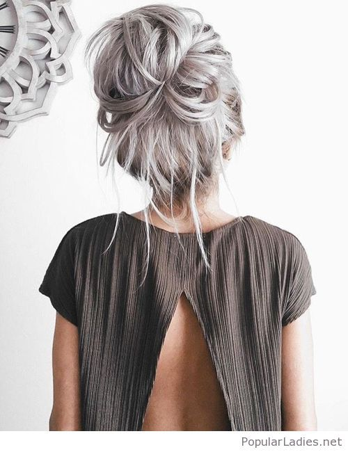 Grey Hair Messy Style Hair Styles Long Hair Styles Hairstyles For Thin Hair
