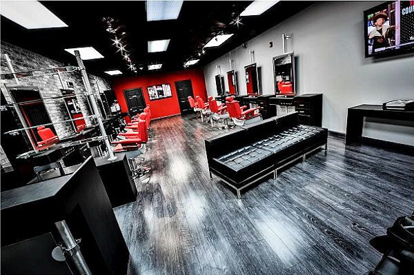 hudson river social clubedgewater nj by salon interiors inc salon barber retail waiting interior barber shop design ideas - Barbershop Design Ideas