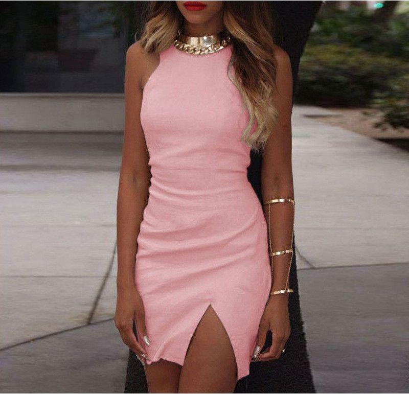 Bodycon Scoop Spilt Pure Color Tank Dress | Vestidos de baile largos ...