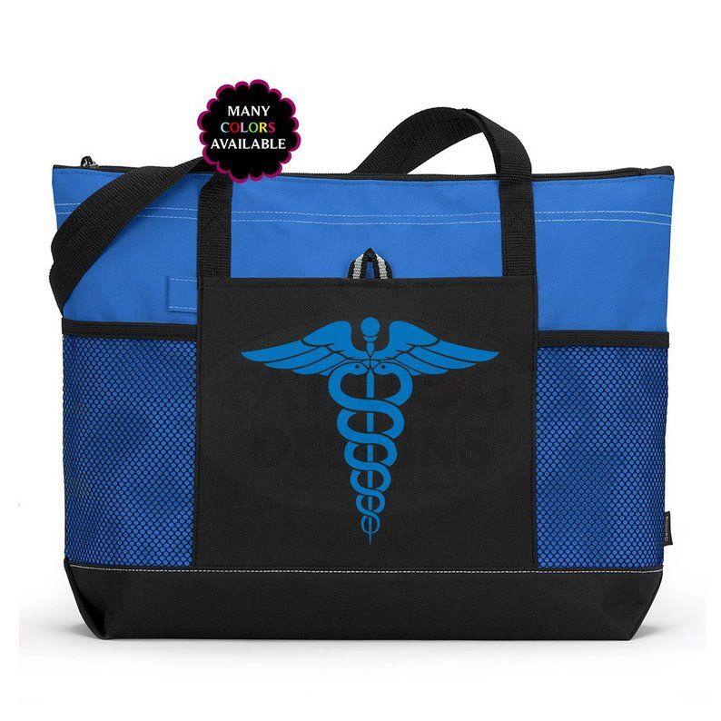 Caduceus Custom Zippered Tote Bag - Gym Bag, School Bag, Beach Bag, Nurse Gift, Doctor Tote, Medical Student Gift, EMT Satchel, Laptop Bag #medicalstudents