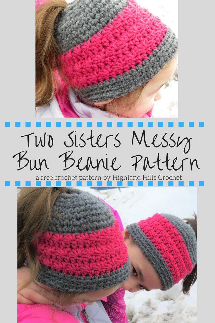 Free Crochet Pattern: Two sisters messy bun beanie - | Free pattern ...