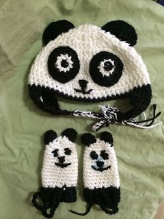 Not My Nana's Crochet!: Crochet Panda Bear Baby Hat And Mittens