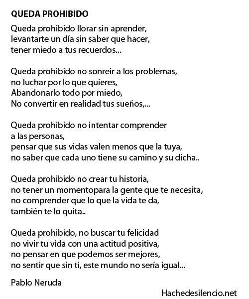 Queda Prohibido Neruda 12 07 Palabras Citas Frases Queda Prohibido