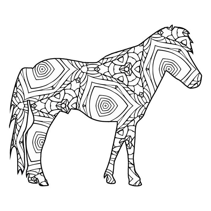 30 Free Printable Geometric Animal Coloring Pages The Cottage Market Horse Coloring Pages Geometric Animals Coloring Pages