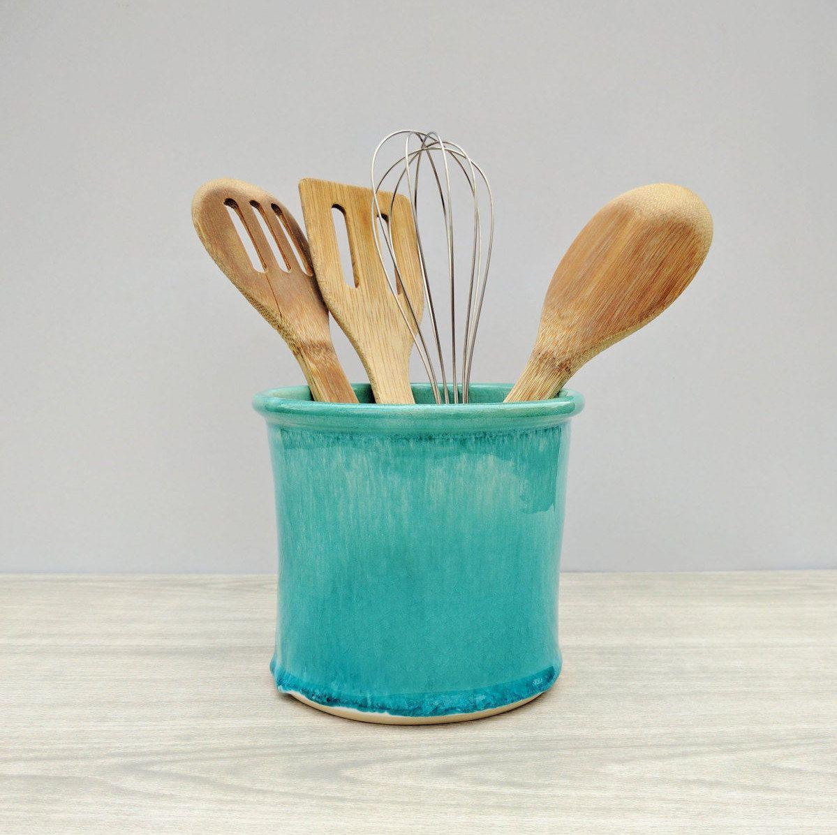 Kitchen Utensil Holder, Blue, Ceramic Utensil Holder, Modern Utensil ...