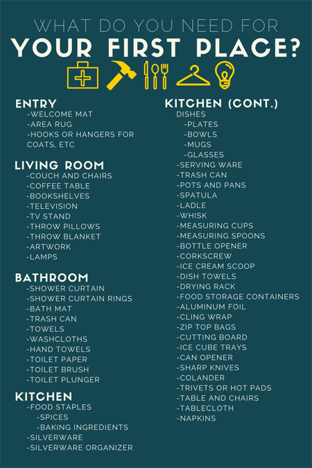 What Do You Actually Need For Your First Apartment Apartment Checklist Apartments And