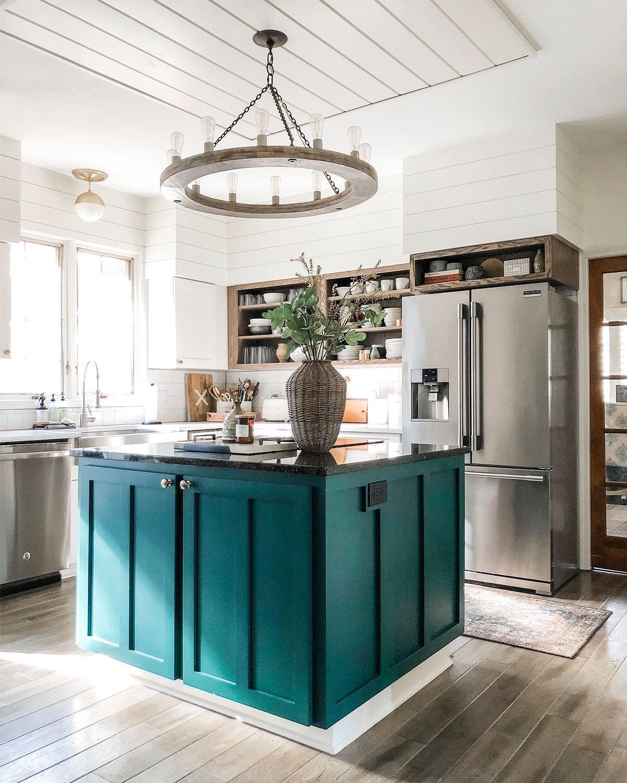 Teal Kitchen Center Island Teal Kitchen Cabinets Teal Kitchen Green Kitchen Island