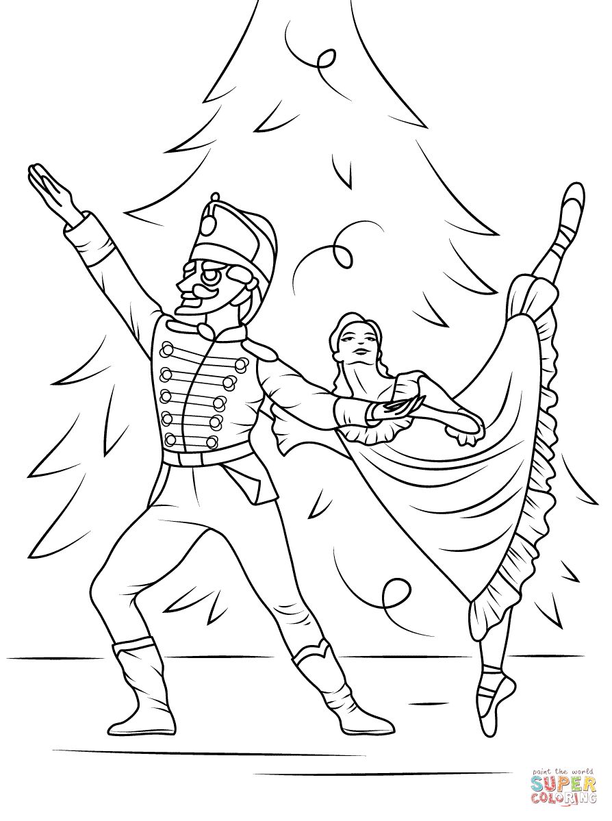 Nutcracker ballet coloring page free printable coloring for Nutcracker ballet coloring pages