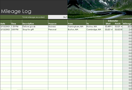 Mileage Log  Templates  OfficeCom  Diy    Logs And