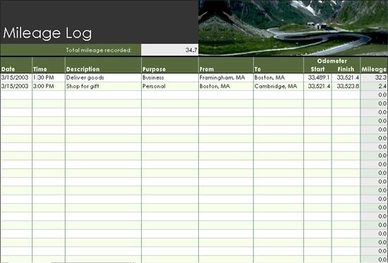 mileage log - templates