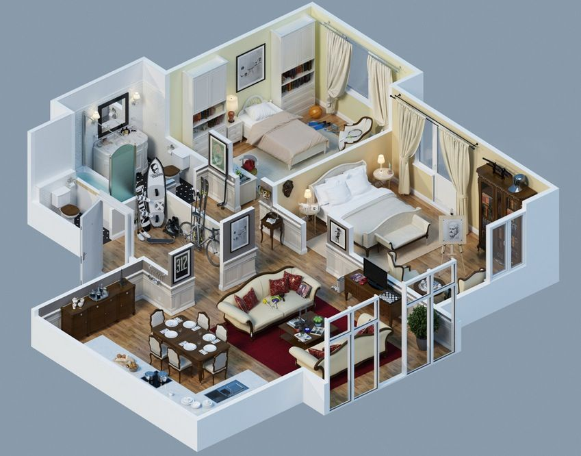 25 Charming 3D Apartment Plans