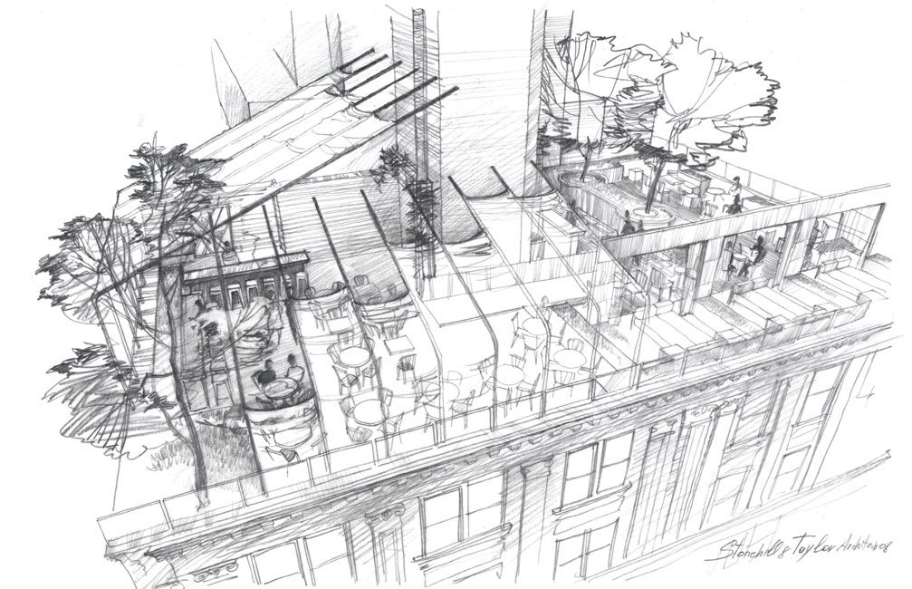 Architectural Rendering Freehand Sketch Pencil Drawing Exterior Hampshire Hotel Artist