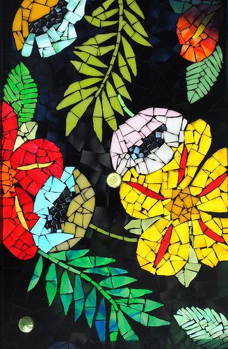 Stained Glass Mosaic Flower Detail